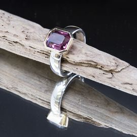 18ct Gold and Silver Amethyst Ring